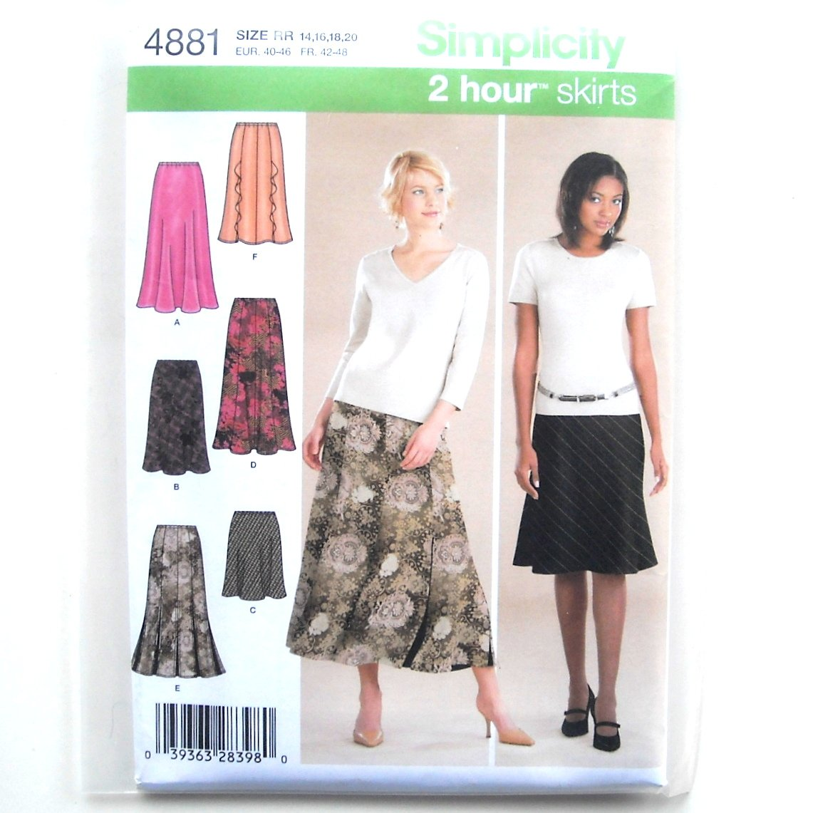 Womens Misses Gored Bias Skirts 14 - 20 2 Hour Simplicity Pattern 4881