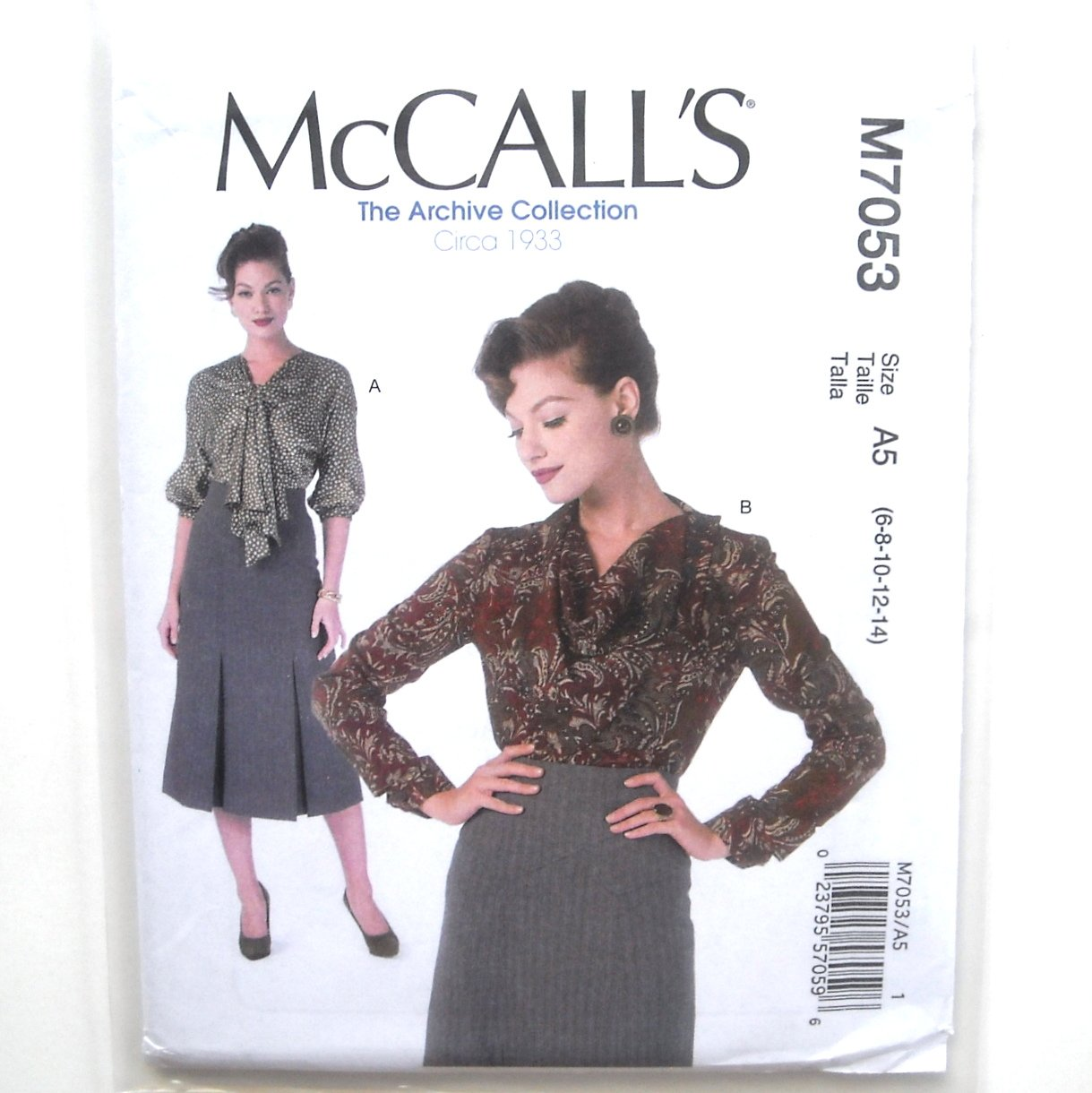 Misses Bow Cowl Neck Tops 6 8 10 12 14 McCalls Sewing Pattern M7053
