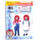 Child Toddler Raggedy Ann Andy Costumes 1/2 - 2 Simplicity Pattern 2510