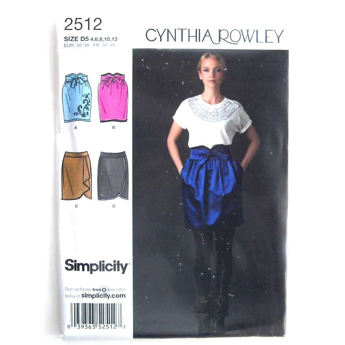 Cynthia Rowley Womens Misses Day Evening Skirts 4 - 12 Simplicity Pattern 2512