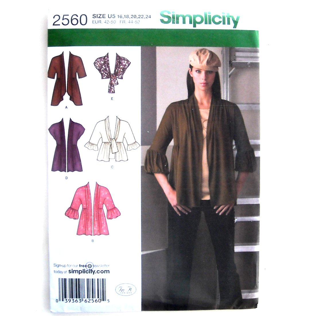 Womens Misses Knit Cardigans 16 - 24 In K Designs Simplicity Pattern 2560