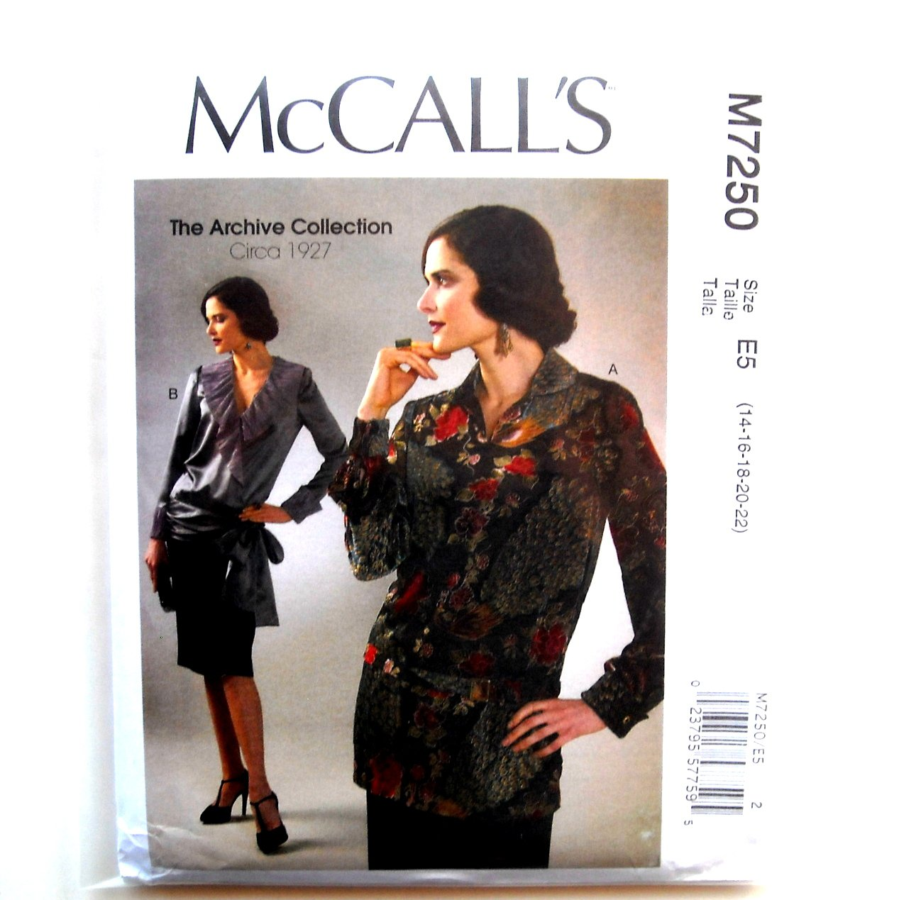 Misses Semi Fitted Tops Belt 14 16 18 20 22 McCalls Sewing Pattern M7250