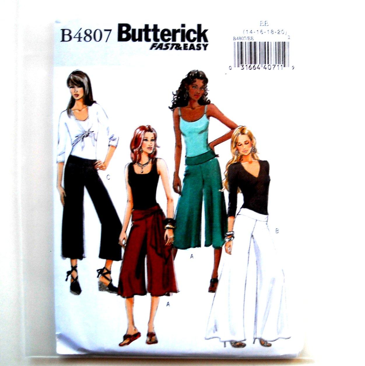 Misses Petite Pants Culottes Sash 14 - 20 Butterick Sewing Pattern B4807