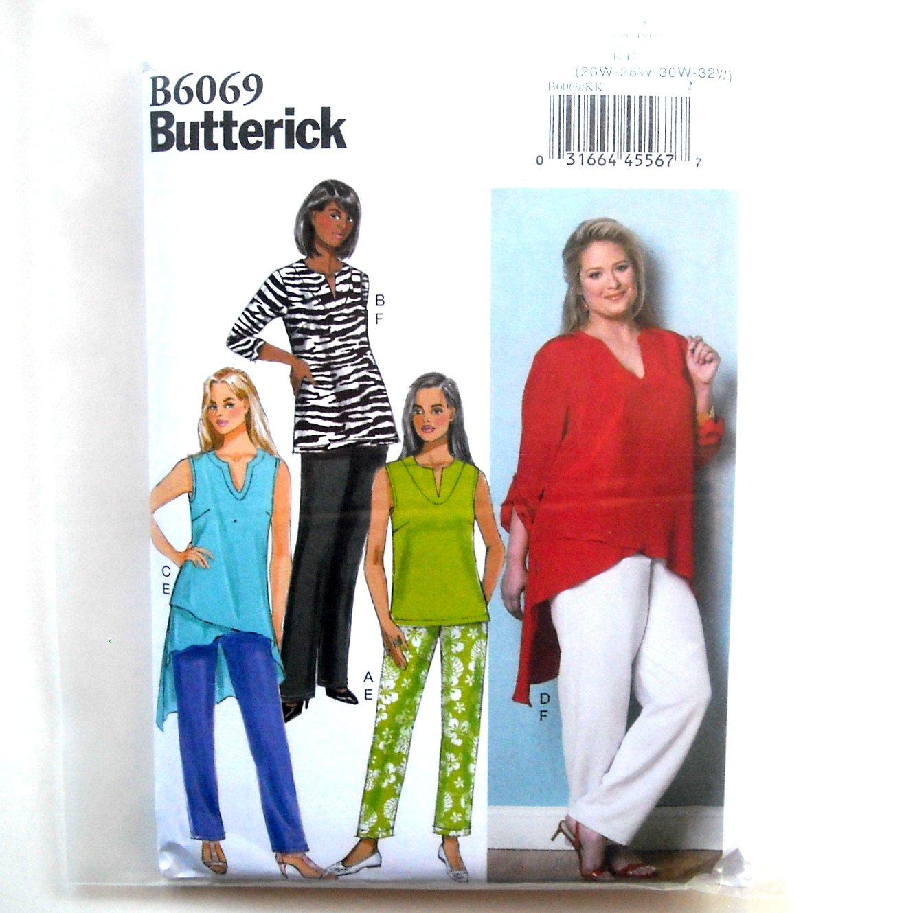 Misses Womens Tunic Pants Plus Size Butterick Sewing Pattern B6069