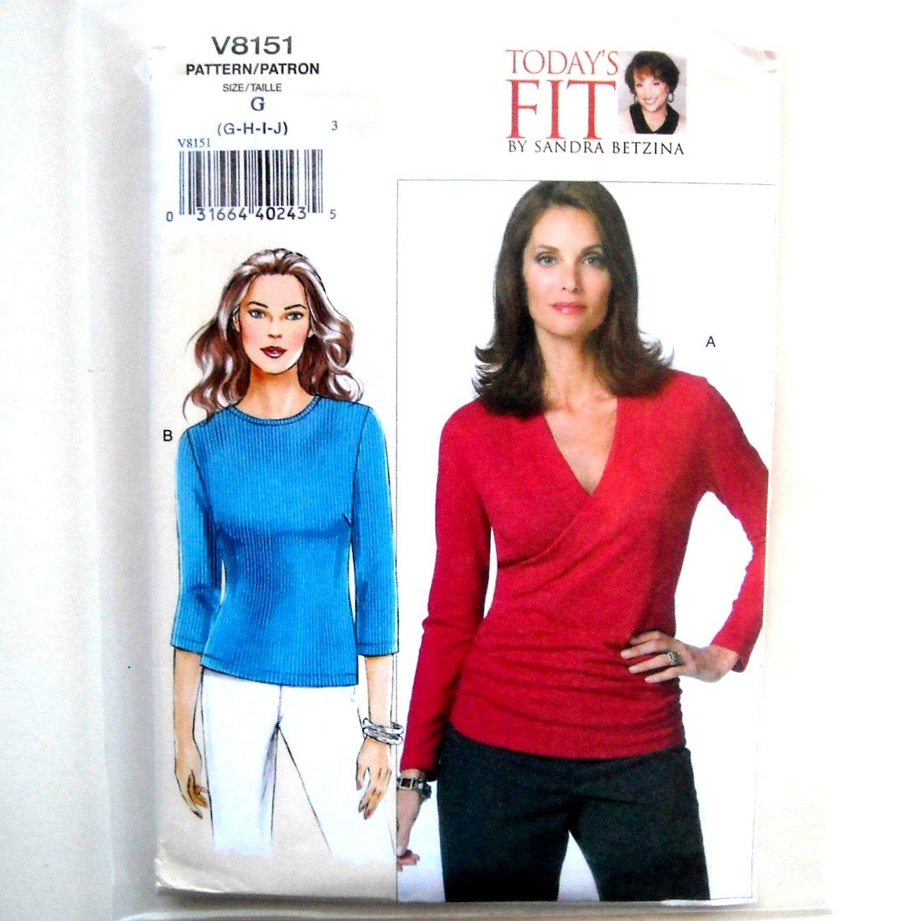 Misses Pullover Tops Todays Fit Out Of Print Vogue Designer Pattern V8151