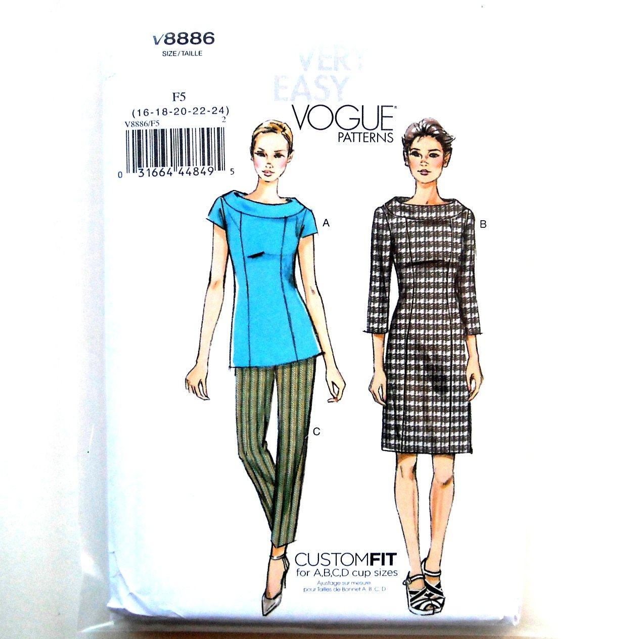 Misses Collar Top Dress Tapered Pants 16 - 24 Vogue Easy Sewing Pattern V8886