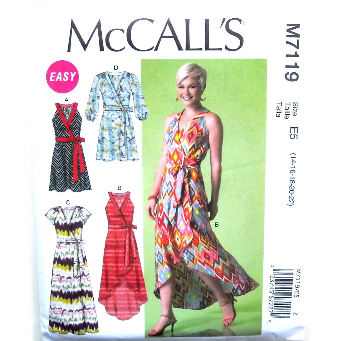 Misses Wrap Dress 14 16 18 20 22 McCalls Sewing Pattern M7119