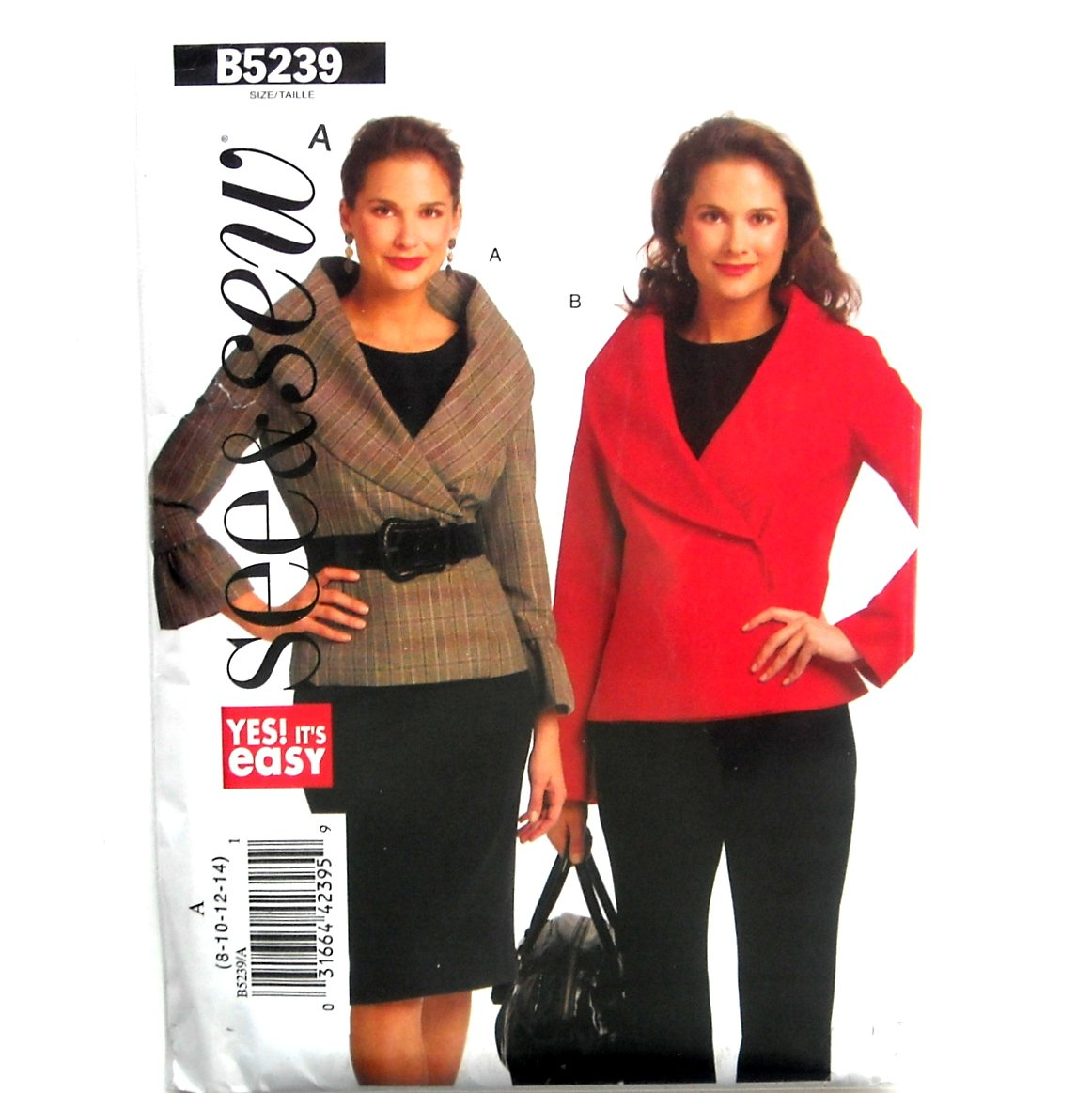 Misses Womens Double Breasted Jacket 8 10 12 14 See Sew Butterick Pattern B5239