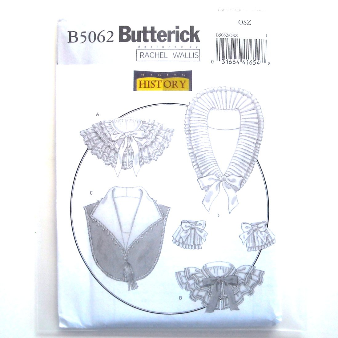 Butterick Pattern B5062 Out of Print Making History Costume Historical Collars Cuffs