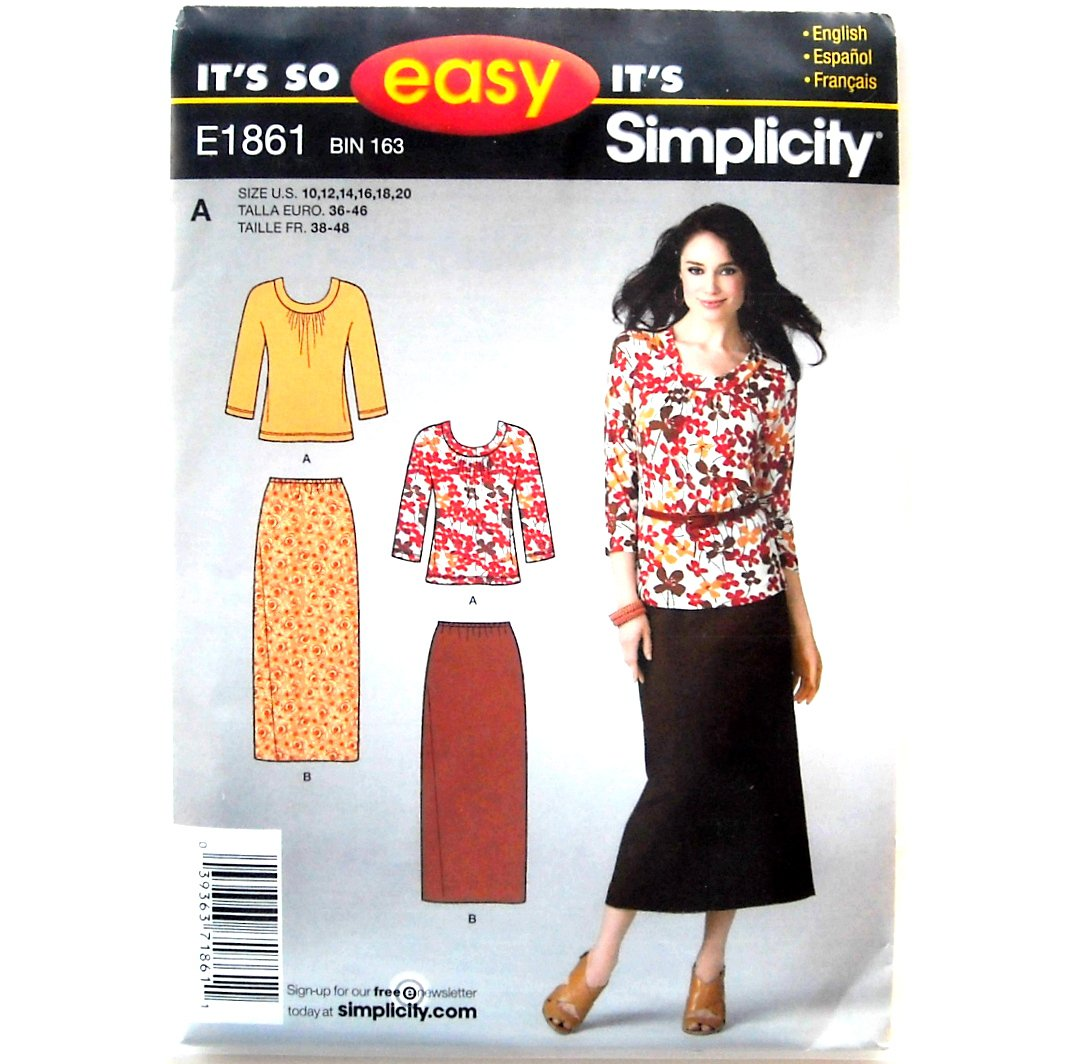 Skirt Knit Top Misses Size Its So Easy Simplicity Pattern E1861