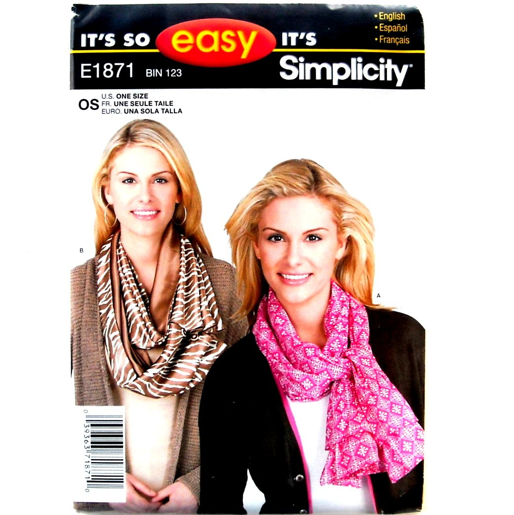Scarf Scarves Misses One Size Easy Simplicity Pattern E1871