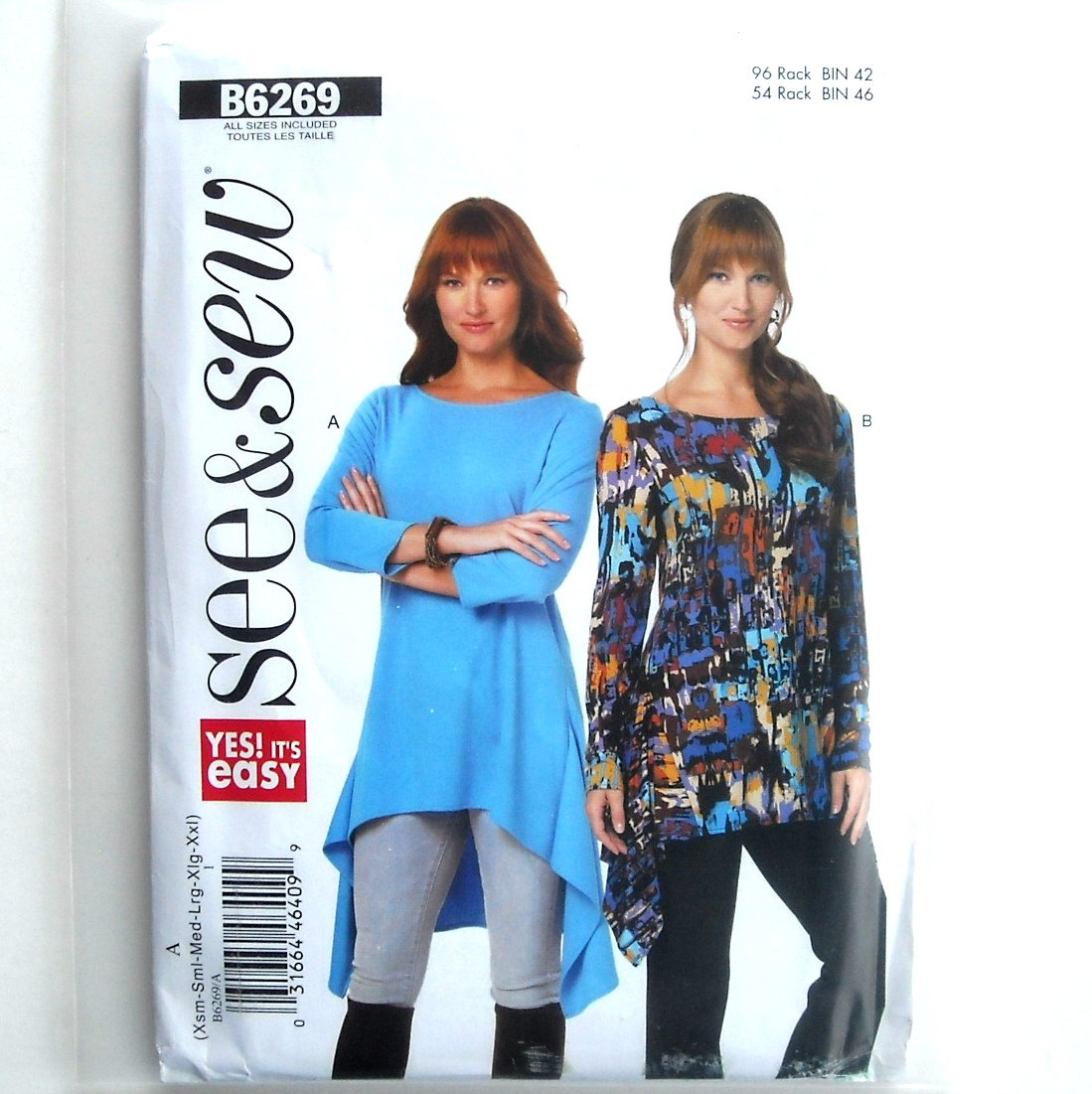 Misses Tunic All Sizes Very Easy See & Sew Butterick Pattern B6269