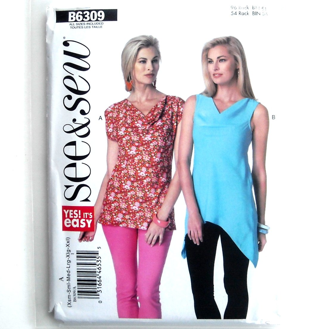 Womens Fitted Tops All Sizes Very Easy See & Sew Butterick Pattern B6309