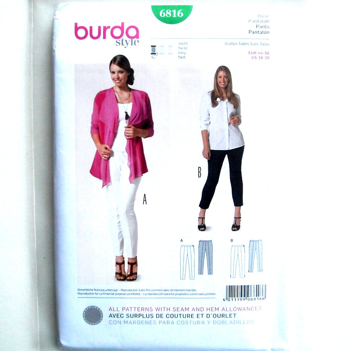 Womens Pants 18 - 30 Burda Style Sewing Pattern 6816