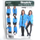 Wrap Twist & Tie Knit Cardigan Easy Simplicity Sewing Pattern S0307