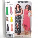 Misses Knit Dresses Neckline Variations Easy Simplicity Sewing Pattern S0684
