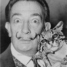 Salvador Dali B & W Face with Cat Photo Spanish Artist