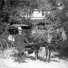 VINTAGE ERA RARE DOCTOR HORSE AND BUGGY PHOTO 1894 PHYSICIANS CASE CARRIAGE