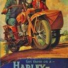 VINTAGE LOOKING PHOTO AD HARLEY DAVIDSON MOTORCYCLE SIDECAR V TWIN AMERICAN BIKE