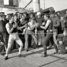 USS New York Navy Ship Sailors Santiago Campaign Military Boxing Fight Photo