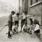 Young Boys Kids Playing Marbles Sidewalk Games Vintage Early Americana Art Photo