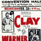 RARE CASSIUS CLAY DON WARNER WORLD HEAVYWEIGHT BOXING FIGHT COLOR POSTER PHOTO