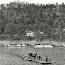 EARLY AMERICANA KENTUCKY FERRY BOAT PHOTO 1900 STEAMBOAT RIVER HORSE & CARRIAGE