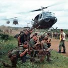 Vietnam War Cambodia Laos Huey Helicopters Army G.I. Soldiers M16 Color Photo