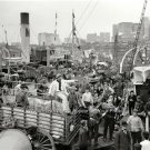 NOSTALGIC EARLY AMERICANA SHIP AND DOCK WORKERS HORSE WAGONS PHOTO NEW YORK 1906