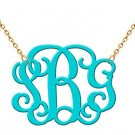 Monogram Necklace Hand Made Custom Turquoise Monogram Initials Personalized A