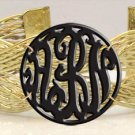 Monogram Acrylic Bracelet Gold Tone Wires