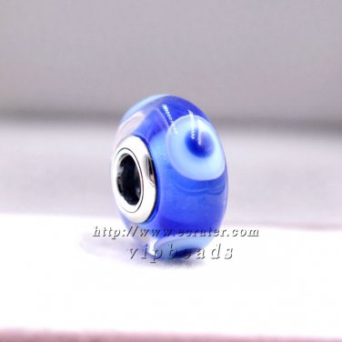 NEW Woman jewelry Blue eyes Murano Glass Beads Charms S925 silver Fit European Bracelets ZS337
