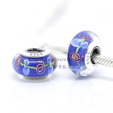 S925 Silver Lampwork Murano Glass Beads Charms Fits European jewelry Bracelets ZS004