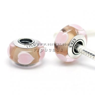S925 Silver love Murano Glass Beads Charms Fits European jewelry Bracelets ZS019