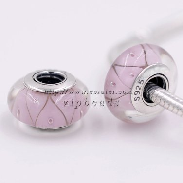 S925 Silver pink Looking Murano Glass Beads Fits European Pan charms Bracelets ZS047