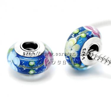 S925 Silver Three-color flowers Murano Glass Beads Charms Fits European jewelry Bracelets ZS058