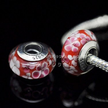 S925 Silver Red flower Murano Glass Beads Charms Fits European jewelry Bracelets ZS061