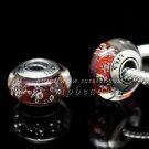 S925 Sterling Silver Red bubbles Murano Glass Beads Charms Fits European jewelry Bracelets ZS115