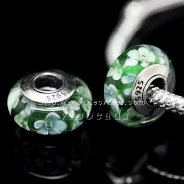 S925 Silver Green flowers Murano Glass Beads Charms Fits European jewelry Bracelets ZS130