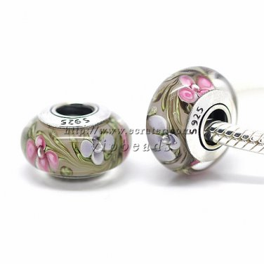 S925 Sterling Silver Wildflowers Murano Glass Beads Charms Fits European jewelry Bracelets ZS171
