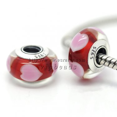 S925 Silver Pink love Murano Glass Beads Charms Fits European jewelry Bracelets ZS177