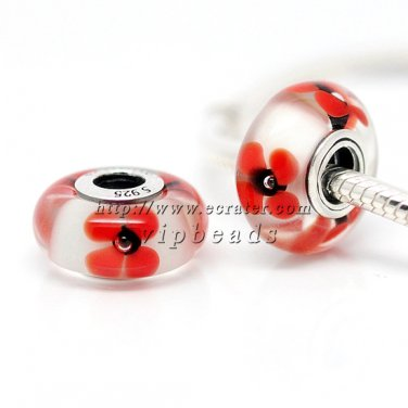 S925 Silver Orange flowers Murano Glass Beads Charms Fits European jewelry Bracelets ZS186