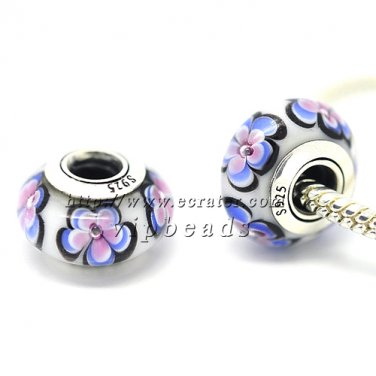 S925 Silver Blue white flowers Murano Glass Beads Charms Fits European jewelry Bracelets 190