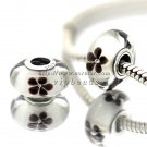 S925 Silver Black cherry blossoms Murano Glass Beads Charms Fits European jewelry Bracelets ZS201