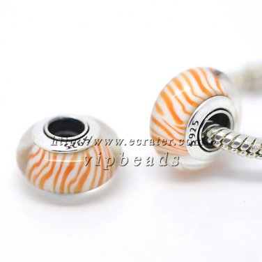 S925 Sterling Silver Orange lines Murano Glass Beads Charms Fits European jewelry Bracelets ZS224
