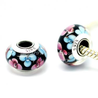 S925 Sterling Silver Pink blue flowers Murano Glass Beads Charms Fits European Bracelets ZS243