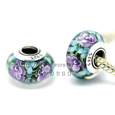 S925 Silver Purple blue flowers Murano Glass Beads Charms Fits European jewelry Bracelets ZS244