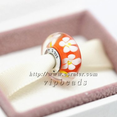 S925 Sterling Silver Orange flower Murano Glass Beads Charms Fits European jewelry Bracelets ZS294