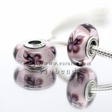 S925 Sterling Silver Pink butterfly Murano Glass Beads Charms Fits European jewelry Bracelets ZS296