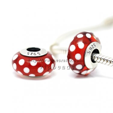 S925 Sterling Silver Minnie Point Murano Glass Beads Charms Fits European jewelry Bracelets ZS304